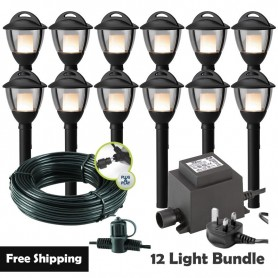 Techmar Laurus 12V Plug & Play Garden Post Light Bundle - 8 Light Kit