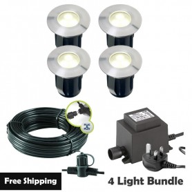 Techmar Astrum 12V Plug & Play Garden Deck Light Bundle - 4 Light Kit