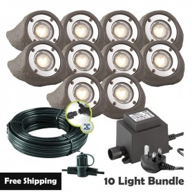 Techmar Lapis LED Waterproof Rock Light Bundle - 8 Light Kit