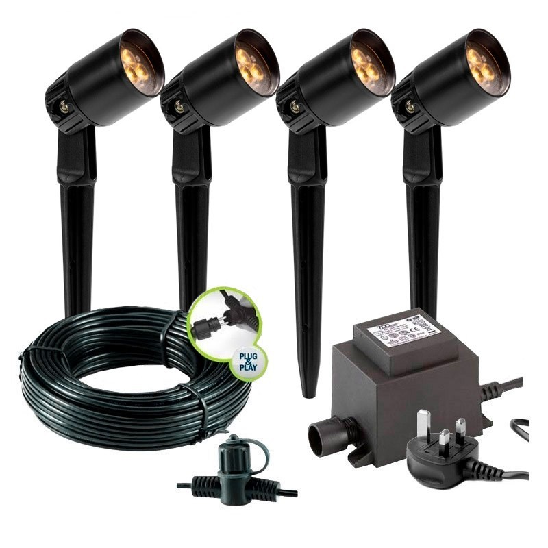 Gilvus Black 12V Garden Down Wall Light